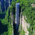 1,070-foot-tall glass elevator on the side of a cliff