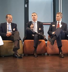 E2 Forum 2019 - Da sinistra: Angelo Bosoni (Amministratore Delegato KONE Italia), Michele Suria (Amministratore Delegato e Direttore Generale IGV Group) e Angelo Fumagalli (Presidente ANIE AssoAscensori e Amministratore Delegato Schindler Italia)