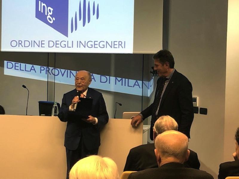 Ordine degli Ingegneri di Milano, la premiazione per i 50 anni di iscrizione all'Albo dell'ing. Giuseppe Volpe